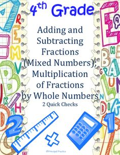 """Great Test Prep, assessment, or review for 4th Grade Fractions; Includes multiple-select, multiple choice, and """"explain your reasoning"""" questions"""