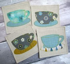 Retro Inspired Fabric Coasters - Tea Cup Appliqué Coasters - Set of 4 Coasters £22.00