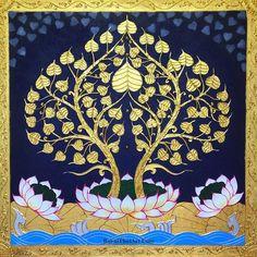 Asian Artwork, Southeast Asian Arts, Thailand Art, Golden Tree, Bodhi Tree, Art Paintings For Sale, Indian Folk Art, Thai Art, Tree Wall Art