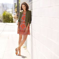 Our fave summer-to-fall tip: Add a lightweight blazer to a silky sundress. #ootd  Love both of these pieces together