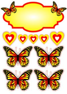 Butterfly Nail Art, Butterfly Cakes, Sunflower Party, Buy Stickers, Diy And Crafts, Paper Crafts, Toy Craft, Birthday Cake Toppers, Christmas Printables