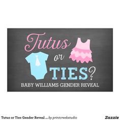 Tutus or Ties Gender Reveal Party Baby Shower Banner