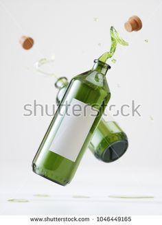 Splash Olive Oil Bottles - 3D Rendering