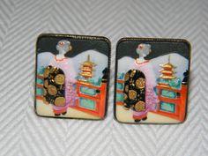 "Rare Vintage Toshikane Sterling Silver Porcelain Geisha Cufflinks - Hallmarked  ""Silver"" and ""Toshikane Japan"" (Sold)"