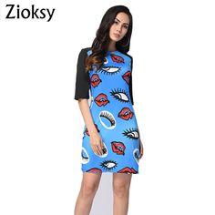 Zioksy 2017 Summer Print Dress Casual Dresses For Women Slim Ladies Half Sleeve Round Neck Straight Short Dress
