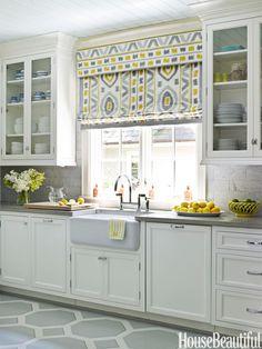 Install an Eye-Catching Window Treatment Patterned Roman Shades, Fabric Roman Shades, Yellow Kitchen Designs, Kitchen Window Treatments, Cool Curtains, Kitchen Decor, Kitchen Sofa, Kitchen Cabinets, Kitchen Ideas