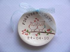 cute ceramics | Ring bearer bowl dish - who is in love owl couple personalized by Wis ...