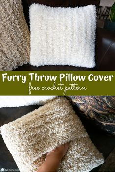 Furry Throw Pillow Cover Free Crochet Pattern Throw pillow covers contribute so much to the vibe of a space. Let's make a Furry Throw Pillow Cover using this free crochet pattern! One Skein Crochet, Bag Crochet, Crochet Gratis, Free Crochet, Blanket Crochet, Crochet Cushion Cover, Crochet Cushions, Crochet Pillow Covers, Knit Pillow