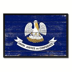 Louisiana State Flag Art Shabby Chic Gift Ideas Office Home Wall Décor 8418 #spotcolorartcom #Vintage