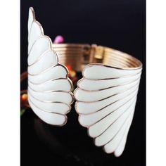 White Vintage Unique Elegant Angel Wing Bracelet ($9.87) ❤ liked on Polyvore