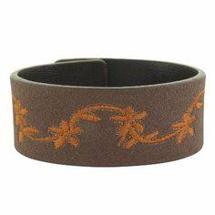 """Brown Leather Wrist Band Sewn Orange Flower Design- Adjustable Size (7-8"""") Bracelets - Leather. $4.25"""