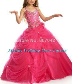 2014 새로운 스타일 도매 아름다운- 라인 구슬 사용자 정의 크기/ 색 꽃의 소녀 드레스 여자 드레스 sky990