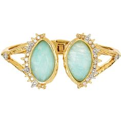 Alexis Bittar Crystal Studded Spur Trimmed Double Amazonite Hinged... ($139) ❤ liked on Polyvore featuring jewelry, bracelets, 18k bangle, 18k jewelry, alexis bittar bangle, alexis bittar jewelry and bangle bracelet