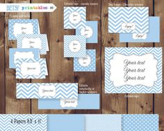 Party Kit Editable Blue chevrons and polka dots by BetsyPrintables