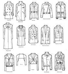 A visual glossary of women's jackets and coats More Visual Glossaries (for Her): Backpacks / Bags / Bobby Pins / Boots / Bra Types / Hats / Belt knots / Chain Types / Coats / Collars / Darts / Dress...
