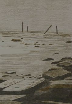 Spurn Beach 2 - a simple sketch using tinted graphite on smooth watercolour paper. Landscape Art, Watercolor Paper, Graphite, A5, Hardwood, Sketch, Smooth, Flooring, Texture