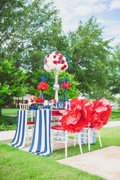 Eclectic Red, White, and Blue Wedding Ideas. Concept by Cathrina Dionisio of michelebutlerevents.com | photo by: clairepacelli.com | stationery by: dogwoodblossomstationery.com | decor by: atmospheresfloral.com |  linens by: overthetopinc.com | rentals by: orlandoweddingandpartyrentals.com full list of vendors: http://theeverylastdetail.com/eclectic-red-white-and-blue-wedding-ideas/
