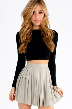 @roressclothes closet ideas #women fashion outfit #clothing style apparel Black Crop Top and Pale Grey Skirt