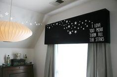 diy starry bedroom pelmet box -- cute for kids room? Window Coverings, Window Treatments, Pelmet Box, New Room, Child's Room, Kids Bedroom, Kids Rooms, Room Kids, Bedroom Ideas