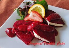 Somewhere between dinner and dessert lies this raw Beet Ravioli with Orange Thyme Ricotta and Orange Strawberry Sauce.