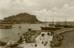 Palermo, Hafen und Monte Pellegrino, Trinks-Bildkarte
