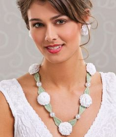 W498 Crochet PATTERN ONLY Summer Zinnia Floral Necklace and Earrings P