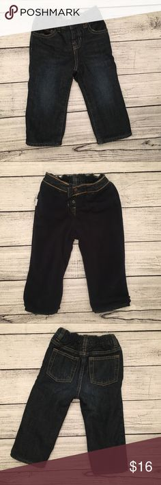 Baby Gap boy jeans Fleece lined jeans for the cold winter days. They are pull on with snaps and elastic waist. Not adjustable. Washed but never worn. GAP Bottoms Jeans
