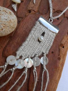 Mini tapestry weaving - linen & silver pendant with pearl by manufabrica