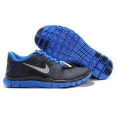 Billig Classic 2013 Menn Nike Free 4.0 V2 Svart Blå