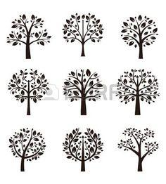 Strom silueta s kořeny a větve photo