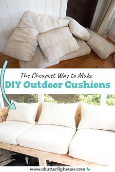 This full, step-by-step tutorial shows you how to make cheap DIY Outdoor Cushions. Some quick waterproof spray means they're weather friendly! projects outdoor projects Cheap DIY Outdoor Cushions - A Butterfly House Diy Garden Furniture, Diy Outdoor Furniture, Furniture Projects, Furniture Design, Rustic Furniture, Antique Furniture, Modern Furniture, Couch Furniture, Furniture Layout