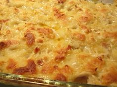Chicken Dumpling Casserole Recipe 	3 boneless, skinless chicken breasts, boiled and shredded 2 cups chicken stock (from boiling the breasts above) 1 stick of butter (½ cup) 2 cups Bisquick or self-rising flour 2 cups 2% milk (whatever you prefer) 1 can cream of chicken soup (the herbed cream of chicken soup adds lots more flavor) 3 t. Wylers chicken granules or 3 bouillon cubes ½ t. dried sage 1 t. black pepper & salt, as desired