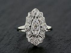 Art Deco Diamond Ring  Antique Platinum