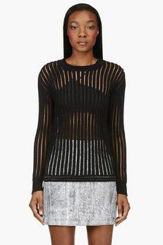 3.1 PHILLIP LIM Black translucent-striped sweater