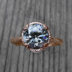 Grey Moissanite Twig Engagement Ring: 2ct; White, Yellow, or Rose Gold; Carved Floral Setting