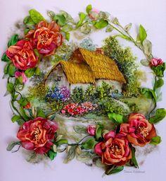 Dreams, cottage garden, silk ribbon embroidery, roses, ribbonart…