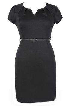 Posh and Professional Belted Pencil Dress in Black - Plus Size  www.lilyboutique.com