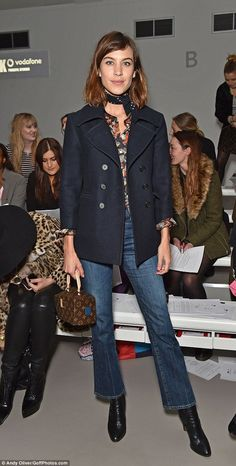 Alexa Chung and Pixie Geldof sit front row at Ashley Williams LFW show Chic: Presenter Alexa opted for bootcut jeans and a navy coat as she attended her first show of the day Daily Alexa Chung, Alexa Chung Style, Pixie Geldof, Bon Look, Looks Jeans, Ashley Williams, Denim Fashion, Womens Fashion, Business Mode