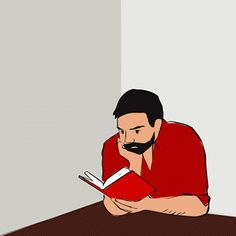 guy reading book animation