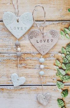 Heart Projects, Clay Art Projects, Clay Crafts, Glue Art, Clay Stamps, Wooden Bead Necklaces, Hand Built Pottery, Wood Bead Garland, Hanging Hearts