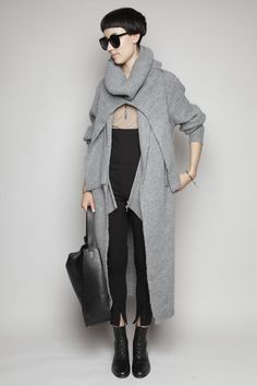 3.1 Phillip Lim - Long Coat Cardigan - Grey Melange