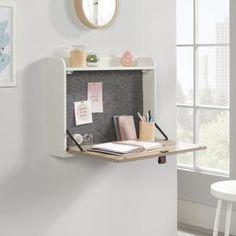 Anda Norr Wall Mounted Fold Down Desk White – Sauder - Sauder Woodworking Desks For Small Spaces, Furniture For Small Spaces, Fold Down Desk, Drop Down Desk, Space Saving Desk, Wall Mounted Desk, Ikea Wall Desk, Floating Wall Desk, Bedroom Desk