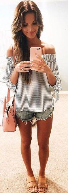 #summer #lovely #fashion | Striped Bardot Top + Cut Offs