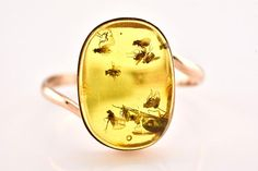 From Lithuania. Ten fossil INSECTS in a natural Baltic honey amber 14K rose gold ring. AmberSmell on Etsy.