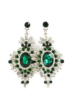 Deco Chandelier Earrings in Emerald on Emma Stine Limited