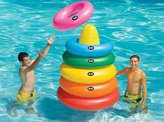 Giant Ring Toss multi-use product- for double the fun! Your favorite pool ring toss game magnified with a target buoy and 5 giant pool toss rings. When not playing, these rings are large enough to be used as pool tubes! Swimming Pool Games, Cool Pool Floats, Pool Rafts, Giant Inflatable, Inflatable Island, Inflatable Pool Toys, My Pool, Pool Fun, Ring Toss