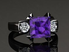 Amethyst+Engagement+Ring+Princess+Cut+by+WinterFineJewelry+on+Etsy