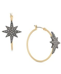 Inc International Concepts Two-Tone Pave Star Hoop Earrings, Created for Macy's - Gold