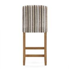 Carter Oak Bar Stool Stripe Fabric - Atlantic Shopping Kitchen Worktop Height, Bar Stools Uk, Striped Fabrics, Foot Rest, Wooden Frames, Dining Chairs, Flooring, Traditional, Furniture