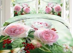 #3D #Pink #Rose Printed Fresh Green Cotton 4-Piece Duvet Cover Sets #bedding #bedroom